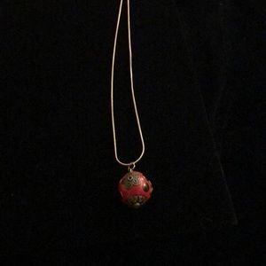 Jewelry - Beautiful red round charm on a nice chain.